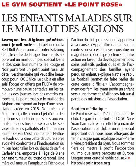 Article : Le Point rose sur le maillot de l'OGC Nice