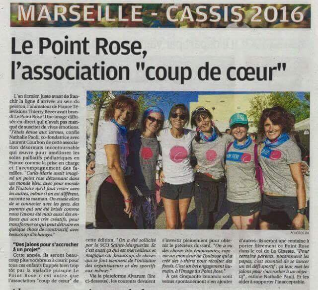 Article : Le Point rose, association « Coup de coeur » de la 38e édition du Marseille-Cassis