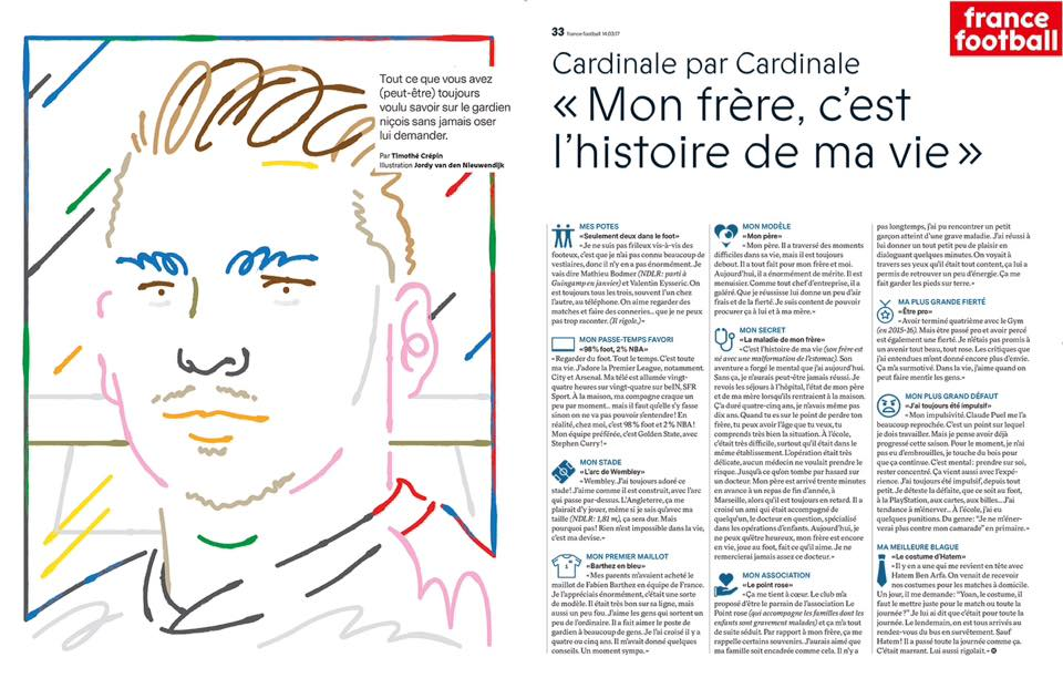 FRANCE FOOTBALL, 14 mars 2017 : Yoan Cardinale et Le Point rose