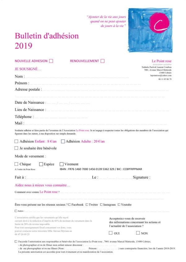 Adhésion 2019