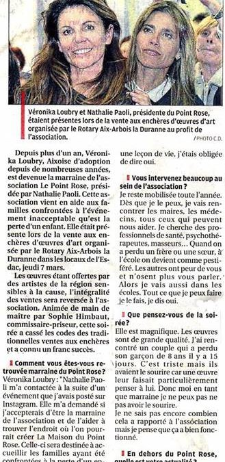 Vente aux enchères d'art contemporain au profit du Point Rose, avec notre marraine Veronika Loubry – La Provence, mars 2019
