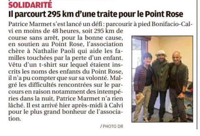 Solidarité, Patrice Marmet court pour le Point rose – la Provence – 12 avril 2019
