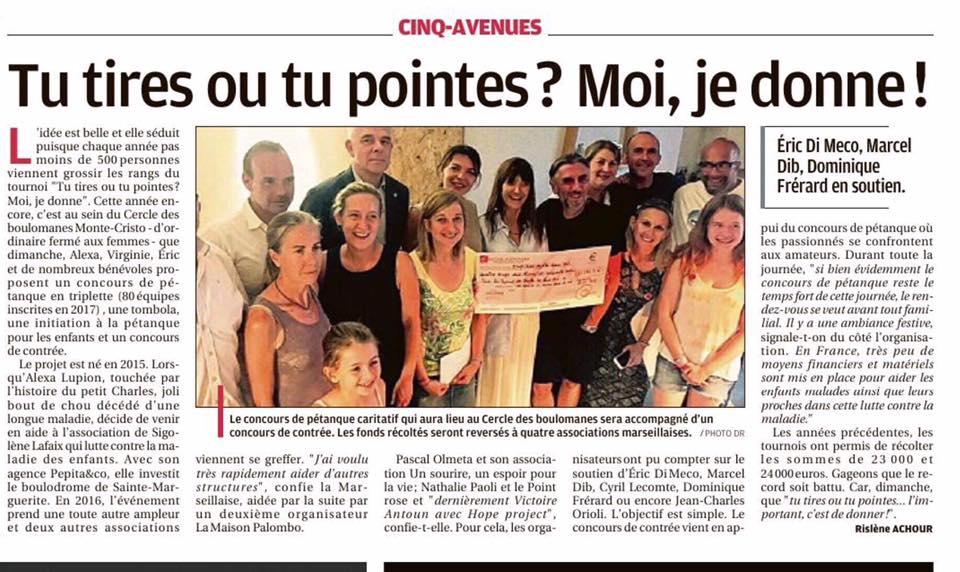 Tu tires ou tu pointes ? Moi je donne – la Provence, 12 mai 2019