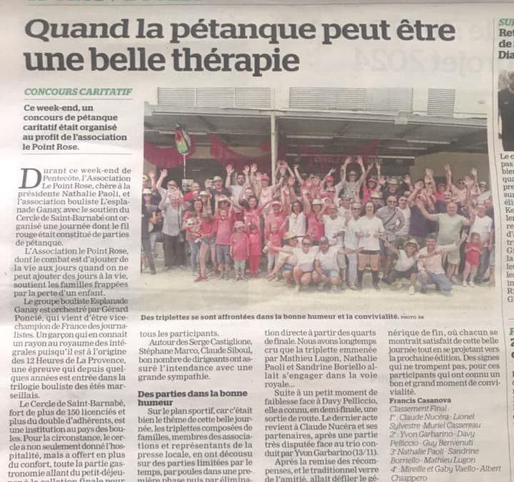 Quand la pétanque peut être une belle thérapie – Trophée le Point rose, Cercle Saint-Barnabé, La Marseillaise – 14 Juin 2019