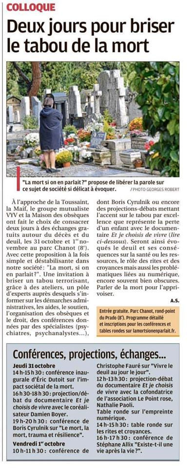 "Colloque ""La mort, si on en parlait"" - La Provence, 27 octobre 2019"