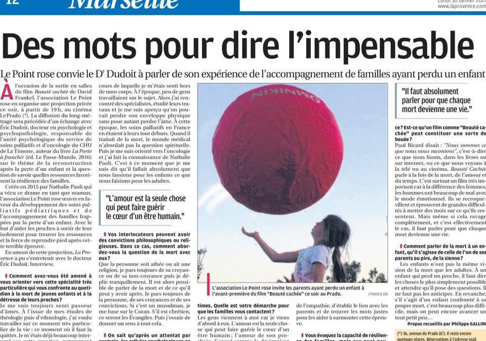 La Provence du 30 janvier 2017 : Entretien avec Eric Dudoit