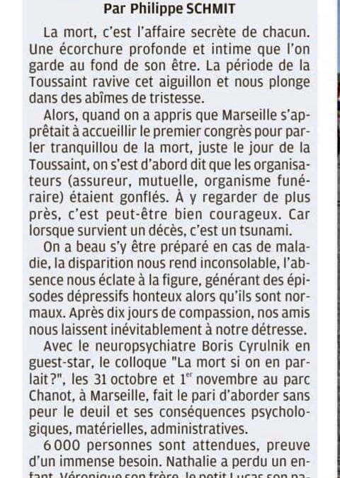 La mort si on en parlait, Edito de Philippe Schmit, le directeur de la rédaction de La Provence – 23 octobre 2019