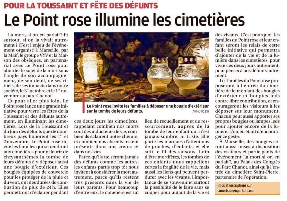 Le Point rose illumine les cimetières – La Provence, 30 octobre 2019
